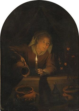 eine junge frau begiesst topfpflanzen bei kerzenlicht by gerrit dou
