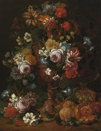 still life of roses, carnations and other flowers in a sculpted urn with fruit and other flowers below by nicolaes van veerendael