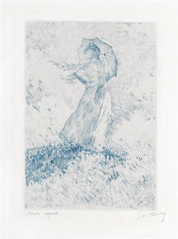 figure en plein air femme à lombrelle tournée vers la droite from lalbum de 20 lithographies dapres les tableaux de claude monet by claude monet