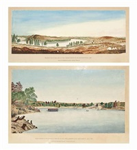 panoramic view of paniel and klip drift diamond fields on the vaal river, south africa, 1870 (+ troops crossing at mr c deverall's ferry on the vaal river, diamond fields, south africa, july 1875; 2 works) by andrew arthur anderson
