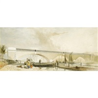 figures gathered before the regent's viaduct, london by george haydock dodgson