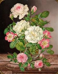 stilleben mit rosen in einer glasvase by anton fidler