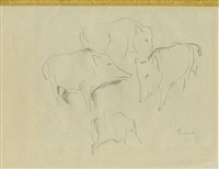 tierdarstellungen (8 works incl. 1 pencil on paper) by fritz paul melis