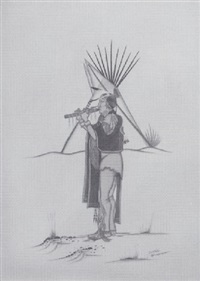 untitled (flute player and tepee) by joyce lee tate nevaquaya