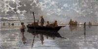 fischerboote in der lagune von venedig by giuseppe vizzotto alberti