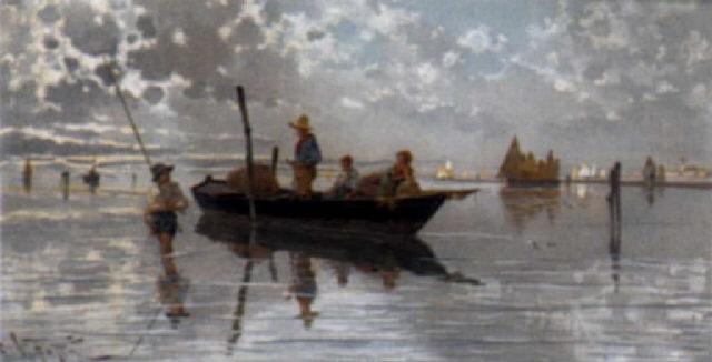 Giuseppe Vizzotto Alberti, Barca di pescatori nella laguna di Venezia