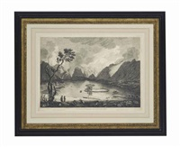 matlock high torr; the high force... view of ennerdale broadwater; and view of darwentwater from crow park (4 works) by thomas (of derby) smith