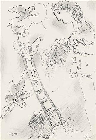 nu à léchelle by marc chagall