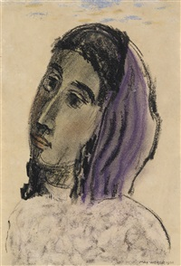 woman with a purple scarf by max weber