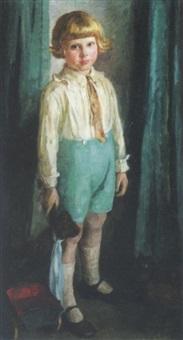 stående dreng med bamse og trækvogn by bertha dorph