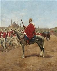 la revue des spahis, inspection of the spahis by pierre petit-gérard