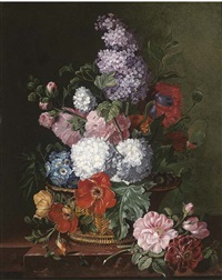 summer flowers in a wicker basket on a shelf by frederick victor bailey