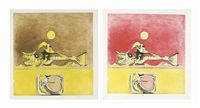form in a desert - brown and yellow and red and yellow (2 works) by graham sutherland