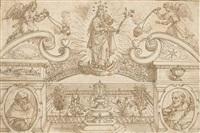 un projet de frontispice avec la vierge et l'enfant flanqués de deux anges by peeter de jode the elder
