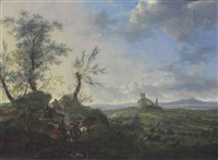 an extensive landscape with a cavalry skirmish, a ruined castle on a hilltop beyond by frederick de moucheron