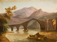 pont du diable, près des bains de lucques by jean-baptiste-louis hubert