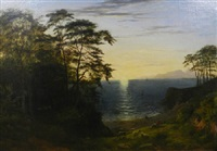 at the end of the day - a shepherd with his flock in an extensive coastal landscape by philip hutchins rogers