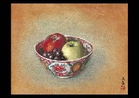 fruits on the red pot by daijo aoki