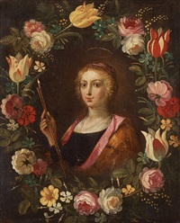 cartouche of flowers with a lady, possibly saint ursula by philippe de marlier