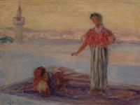 femmes sur une terrasse à tunis by albert aublet