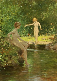 two nudes dipping their feet in a pond by john jay baumgartner