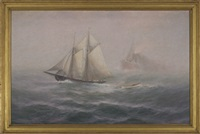 schooner on the high seas by theodore victor carl valenkamph