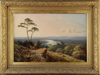 an extensive river valley with a castle in the distance by edmund john niemann
