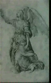 an angel kneeling with one arm raised by girolamo macchietti