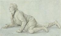 junger mann, einen abhang hinunterblickend by peter heinrich lambert von hess