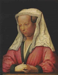 portrait of bonne d'artois, duchess of burgundy, half-length, in a red fur-lined coat and a white headdress by jan van eyck