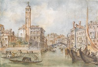ansicht von venedig; die rialtobrücke in venedig (pair) by francesco guardi