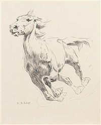 running horse (study for midnight ride of paul revere, 1917) by william robinson leigh