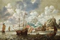 barcos frente a un puerto fortificado by cornelisz mahu