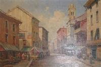 continental market scene by dennis ainsley