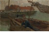 volendam harbor by gari melchers