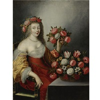portrait of a lady as flora by jacques linard