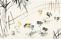 群鸡 镜片 纸本 by liu zigu