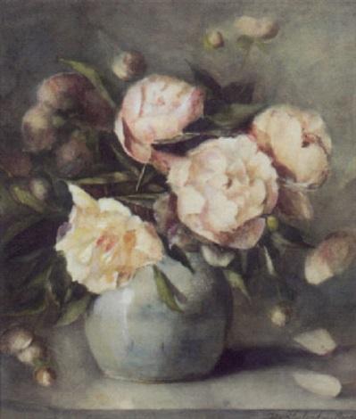 peonies in a vase by johanna bleuland van oordt