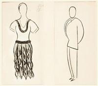 helena - entwurf von kostümen für das stück r.u.r. (+ fabry - entwurf von kostümen für das stück r.u.r.; 2 works) by josef capek