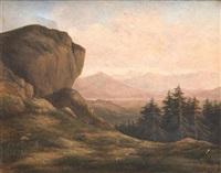 paysage aux rochers et sapins by louis-hippolyte millenet