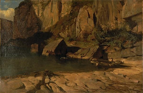 falaises et rochers au bord dun lac by alexandre calame