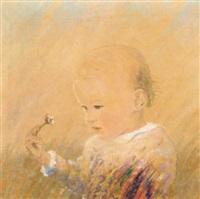 kleines kind mit blumen by helmut margreiter