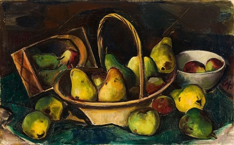 stilleben mit äpfeln und birnen by karl hofer