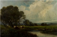 pastoral scene with cattle by w. ashton