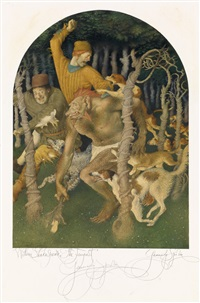 the tempest. two illustrations: banquet and hunt scenes by gennady spirin