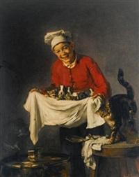 jeune commis avec chiots et chatons by joseph bail