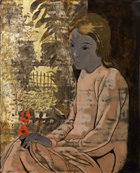young vietnamese woman in a garden by alix aymé