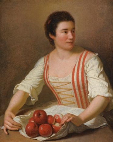 a woman with a basket of fruit by paul ponce antoine robert