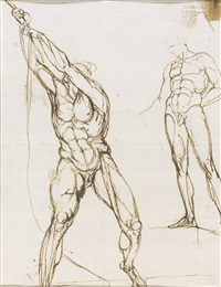 studies of a male nude (recto-verso) by henry fuseli