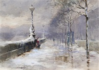 chelsea embankment in winter by henry franks waring